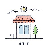 Hand drawn line icon retail shop symbol for consumerism and shopping compositions. Modern style vector illustration concept.
