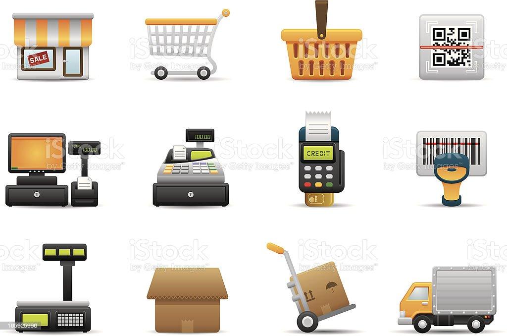 Retail & Shopping icons | Premium Matte series vector art illustration