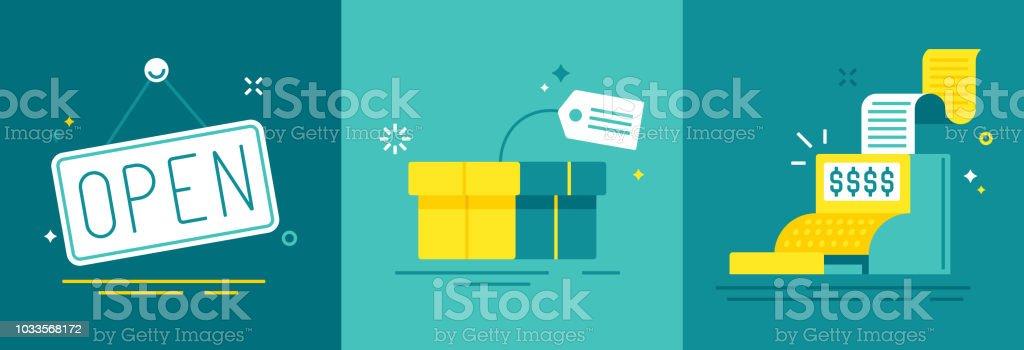 Einzelhandel Handel und Vertrieb - Lizenzfrei Abmachung Vektorgrafik