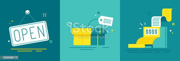 Retail commerce and sales illustration concepts.