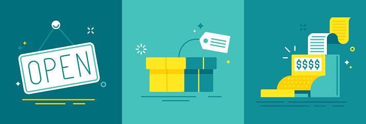 Einzelhandel Handel Und Vertrieb Stock Vektor Art und mehr Bilder von Abmachung