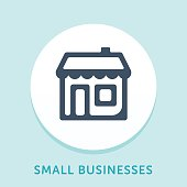 Curved Style Line Vector Icon for Small Businesses.