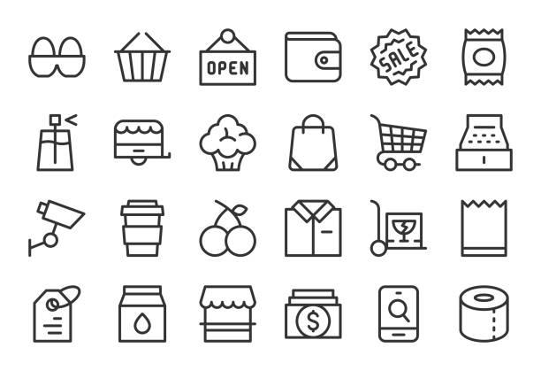 ilustrações de stock, clip art, desenhos animados e ícones de retail store icons - light line series - online shopping