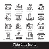 Retail stores, marketplaces, online showcases, shop buildings thin line icons for web, mobile app. Editable stroke. Shop vector set include icons of local market, bakery, bazaar, boutique, shopping mall etc.