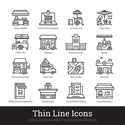Retail Store, Marketplace, Showcase Thin Line Icons Set Isolated On White Background. Illustrations Clip Art. Editable strokes.