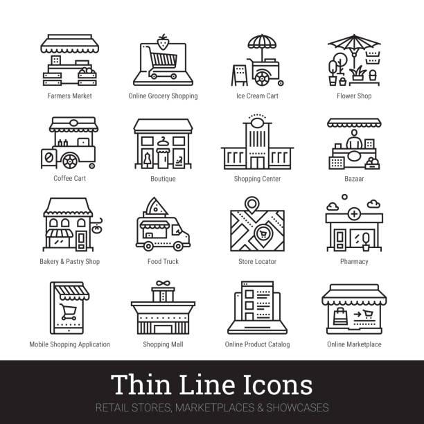 stockillustraties, clipart, cartoons en iconen met winkel, marktplaats, showcase dunne lijn pictogrammen geïsoleerd op witte achtergrond. illustraties illustraties illustraties. bewerkbare lijnen. - warenhuis