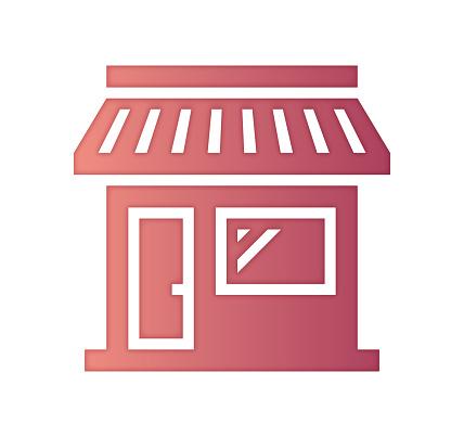 Retail Store Sales Gradient Fill Color & Paper-Cut Style Icon Design