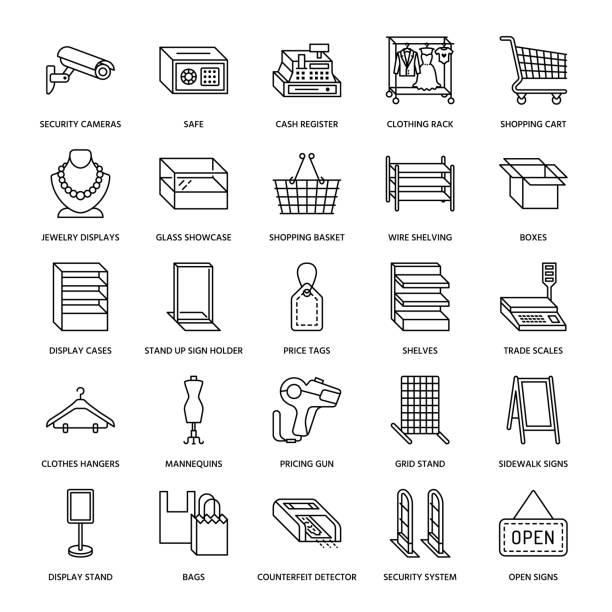 retail-store liefert flache linie symbole. handel mit geräten ladenschilder. gewerbeobjekte - kasse, korb, waagen, einkaufswagen, regale, vitrinen. dünne lineare zeichen für lagerverkauf - kastenständer stock-grafiken, -clipart, -cartoons und -symbole