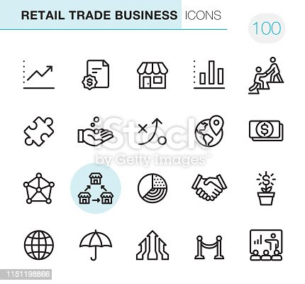 20 Outline Style - Black line - Pixel Perfect icons / Retail Trade Business Set #100 Icons are designed in 48x48pх square, outline stroke 2px.  First row of outline icons contains:  Moving Up Chart, Contract, Store, Bar Graph Chart, Mentor;  Second row contains:  Solution, Capital, Strategy, Location, Paper Currency;  Third row contains:  Corporation, Franchise icon, Pie Chart, Handshake, Money Growth;   Fourth row contains:  Globe, Insurance, Merger Arrows, Opening, Presentation.  Complete Primico collection - https://www.istockphoto.com/collaboration/boards/NQPVdXl6m0W6Zy5mWYkSyw