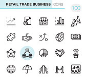 20 Outline Style - Black line - Pixel Perfect icons / Retail Trade Business Set #100\nIcons are designed in 48x48pх square, outline stroke 2px.\n\nFirst row of outline icons contains: \nMoving Up Chart, Contract, Store, Bar Graph Chart, Mentor;\n\nSecond row contains: \nSolution, Capital, Strategy, Location, Paper Currency;\n\nThird row contains: \nCorporation, Franchise icon, Pie Chart, Handshake, Money Growth; \n\nFourth row contains: \nGlobe, Insurance, Merger Arrows, Opening, Presentation.\n\nComplete Primico collection - https://www.istockphoto.com/collaboration/boards/NQPVdXl6m0W6Zy5mWYkSyw