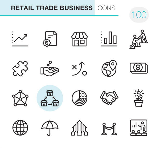 retail trade business - pixel perfect icons - retail worker stock illustrations