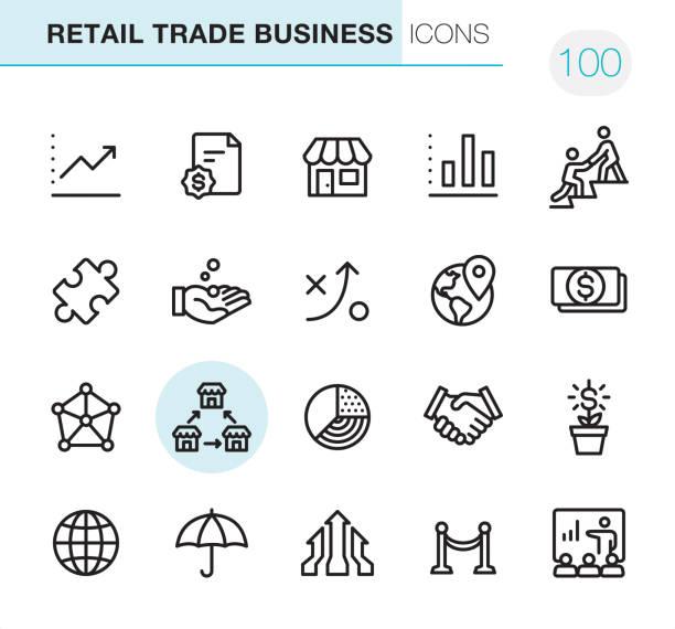 ilustrações de stock, clip art, desenhos animados e ícones de retail trade business - pixel perfect icons - store