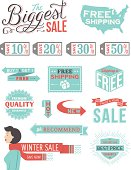 A set of vintage-style banners and badges focusing on retail. Each items is on a separate layer. Includes a layered Photoshop document. Ideal for both print and web elements.