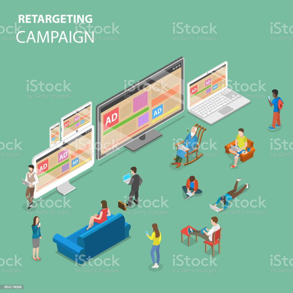 Animation Retargeting retargeting campaign flat isometric vector concept stock