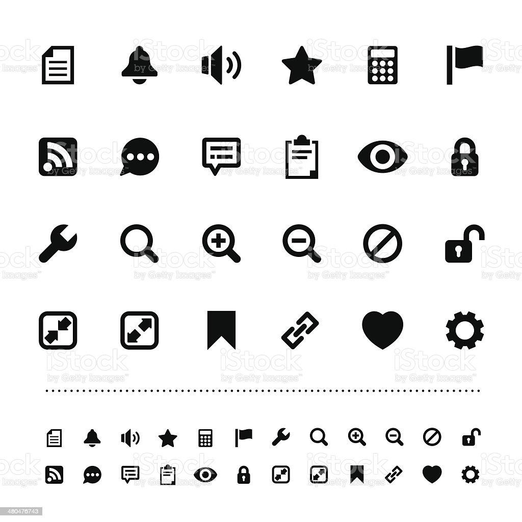 Retina interface icon set vector art illustration