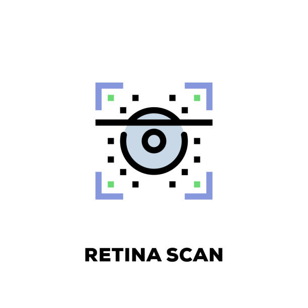 retina scan line icon - сетчатка stock illustrations