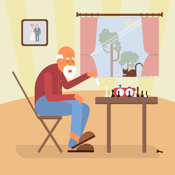 retired age alone man - old man playing chess silhouettes stock illustrations, clip art, cartoons, & icons