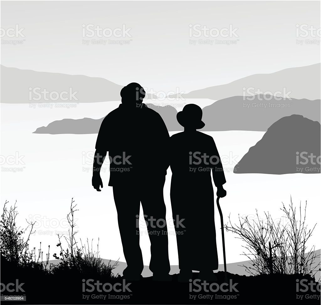 Retired Couple Amazing View Hike vector art illustration