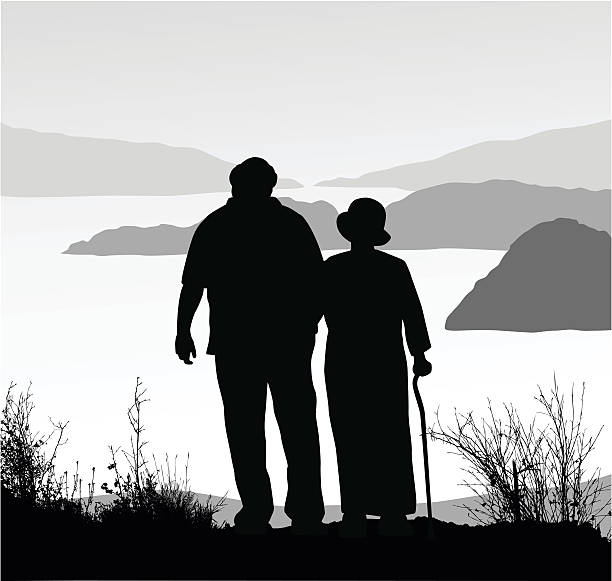 retired couple amazing view hike - old man in black stock illustrations, clip art, cartoons, & icons