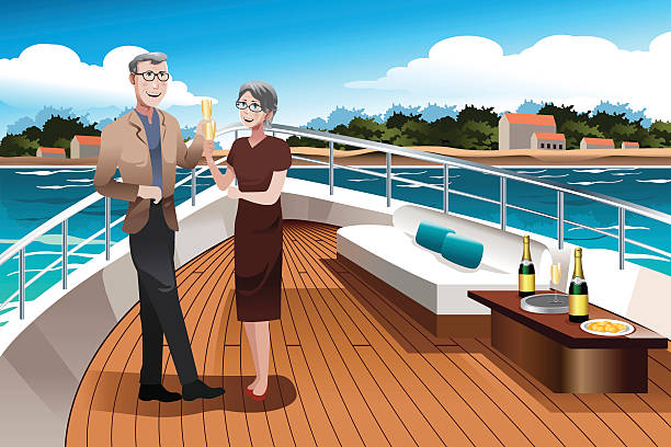 bildbanksillustrationer, clip art samt tecknat material och ikoner med retired couple on a  yacht - middle aged man dating