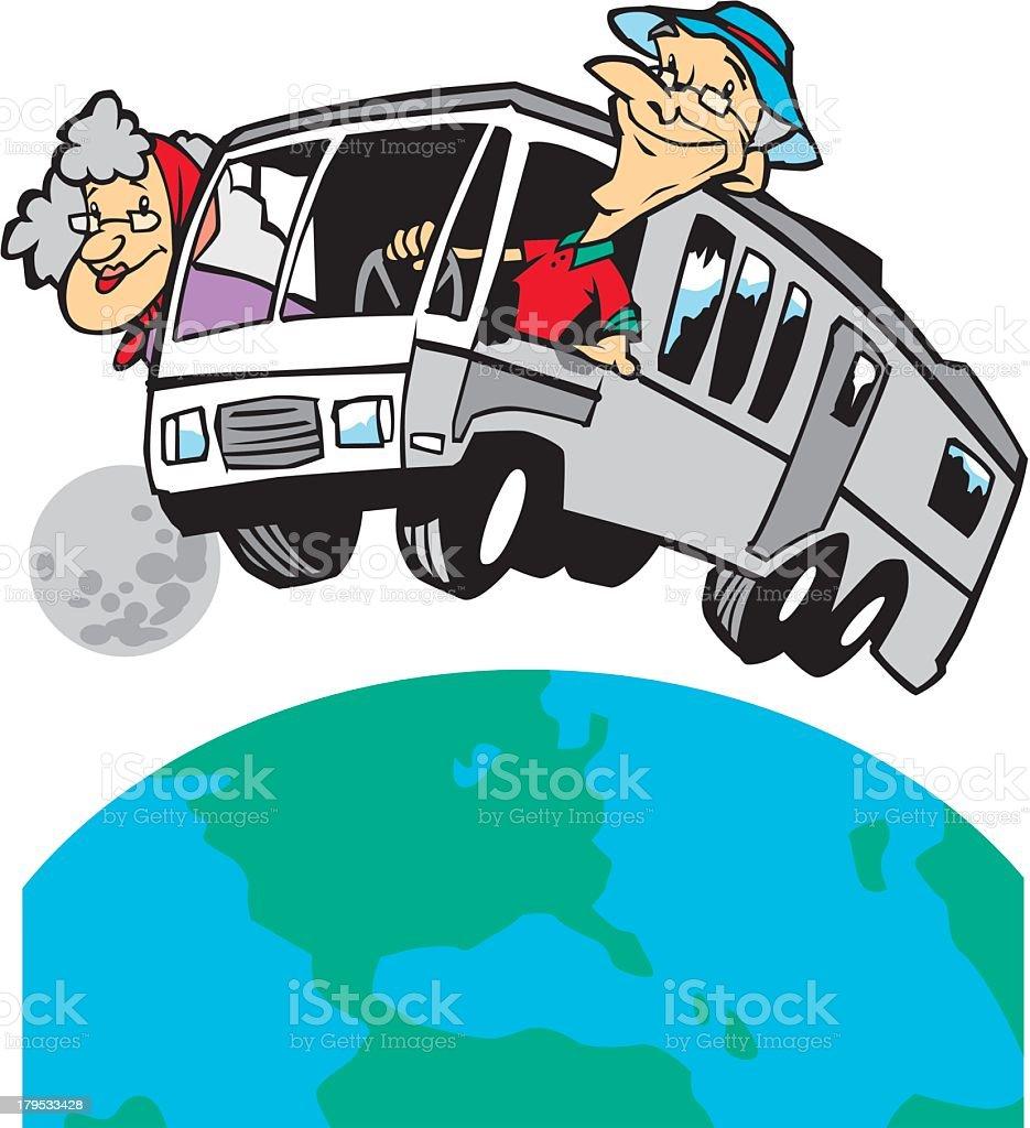 Retired Couple Travelling vector art illustration