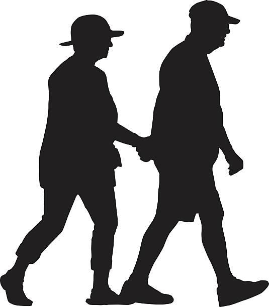 retired couple walking holding hands - 老夫婦点のイラスト素材/クリップアート素材/マンガ素材/アイコン素材