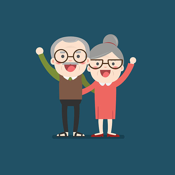 retired elderly senior age couple. - old man hair stock illustrations, clip art, cartoons, & icons