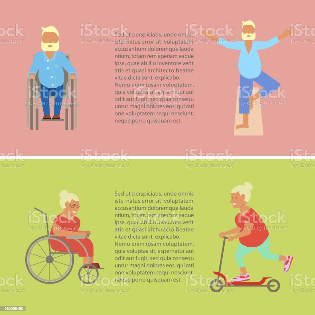 Retired elderly seniors vector art illustration