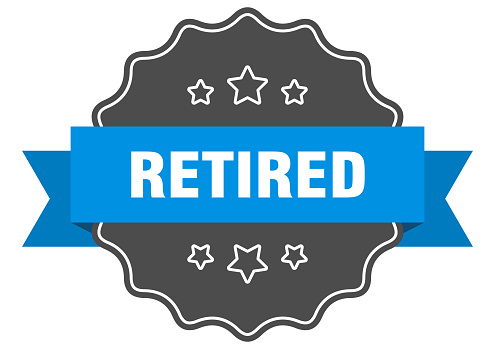 retired label. retired isolated seal. sticker. sign