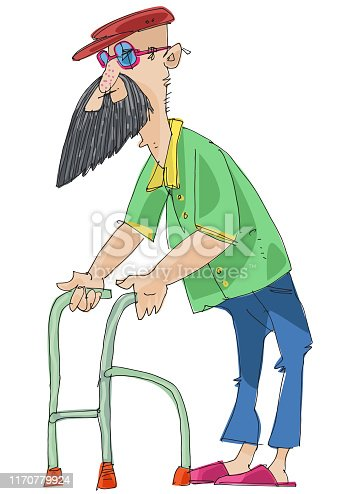Retired man walks with help of support frame. Cartoon.
