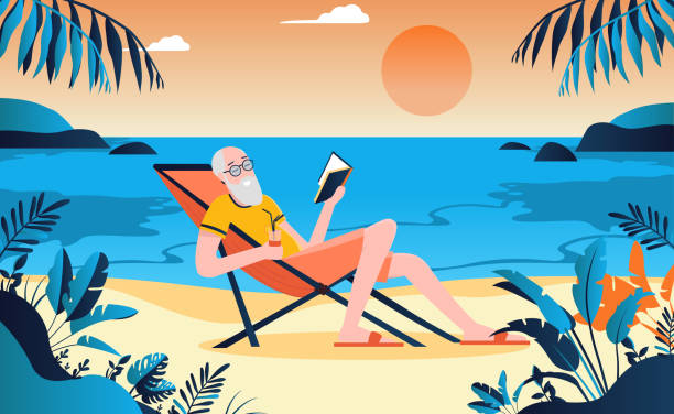 bildbanksillustrationer, clip art samt tecknat material och ikoner med pensionerad gammal man på stranden njuter av livet med en bok i handen - spain solar