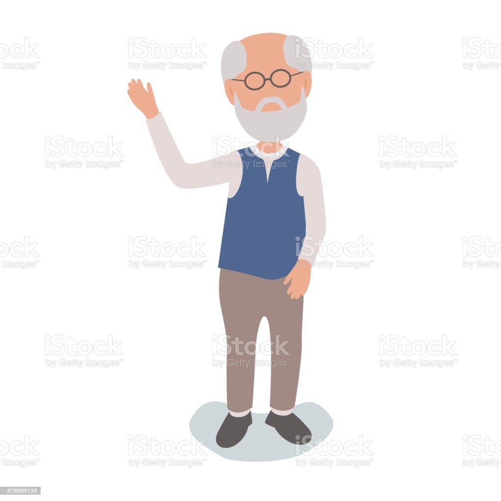 Im Ruhestand Rentner älterer Mann winken – Vektorgrafik