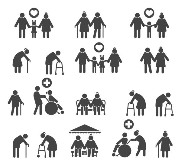retired people family - old man clipart stock illustrations, clip art, cartoons, & icons