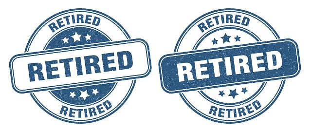 retired stamp. retired label. round grunge sign