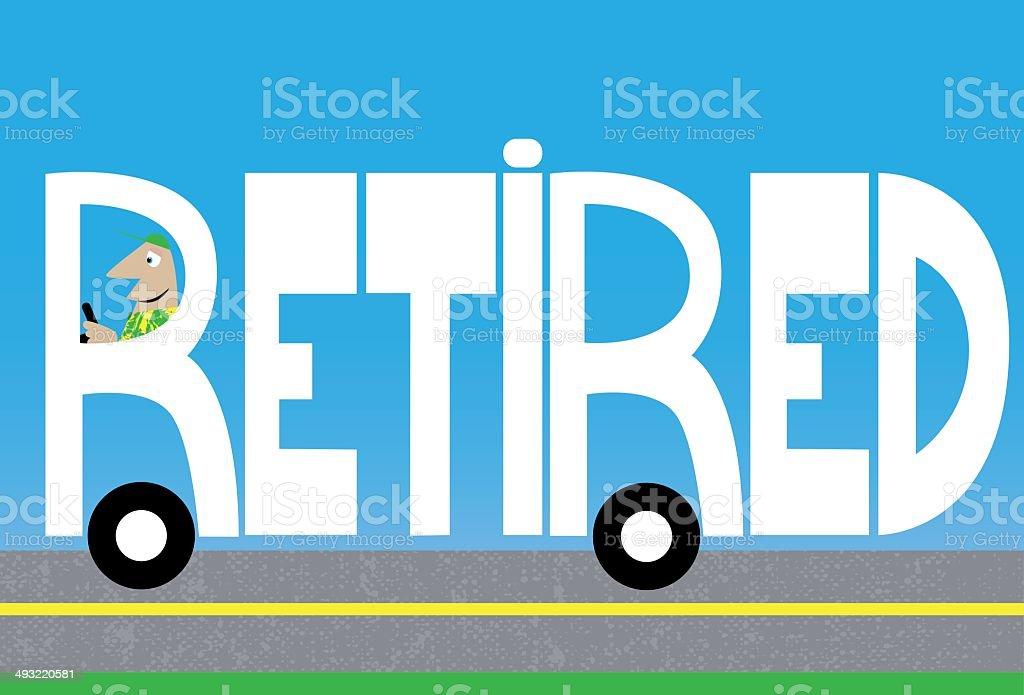 Retired vector art illustration