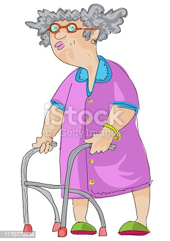 Retired woman walks with help of support frame. Cartoon.