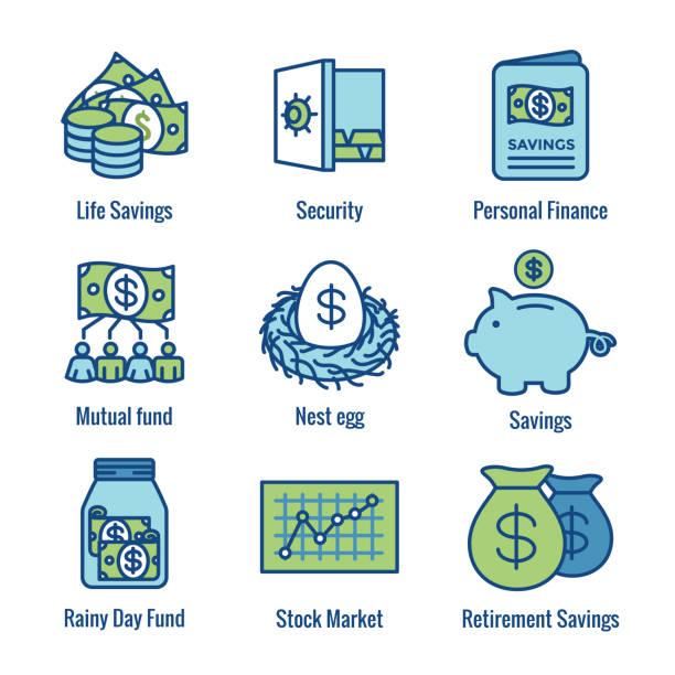 Pensionierung Konto und Einsparungen Icon Set w Investmentfonds, Roth IRA usw. – Vektorgrafik