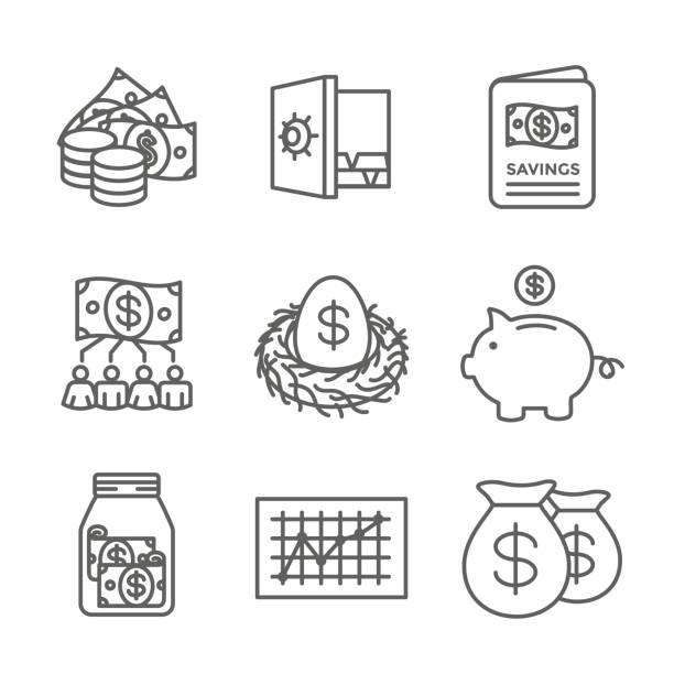 Retirement Account and Savings Icon Set w Mutual Fund, Roth IRA, etc Retirement Account & Savings Icon Set - Mutual Fund, Roth IRA, etc 401k stock illustrations