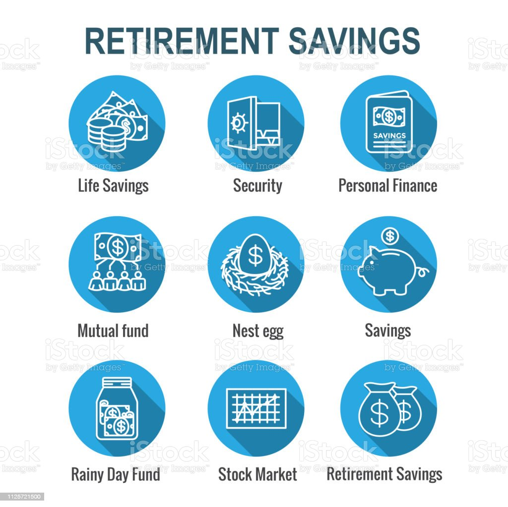 Retirement Account and Savings Icon Set w Mutual Fund, Roth IRA, etc vector art illustration