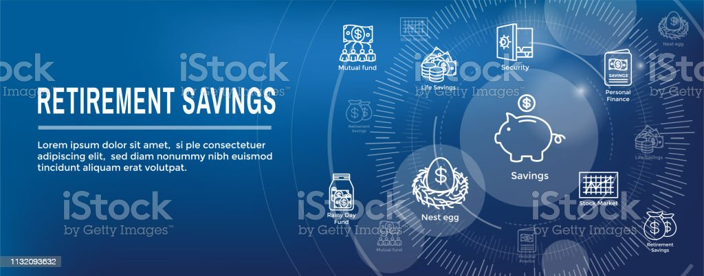 Retirement Account and Savings Icon Set Web Header Banner w Mutual Fund, Roth IRA, etc vector art illustration