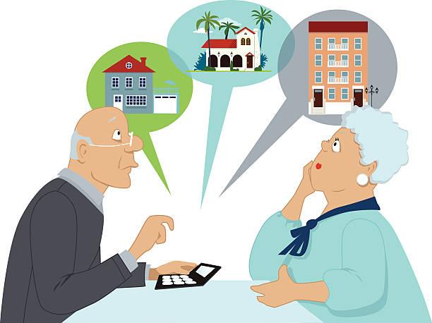 ruhestand und stellenabbau - hypotheken kündigung stock-grafiken, -clipart, -cartoons und -symbole