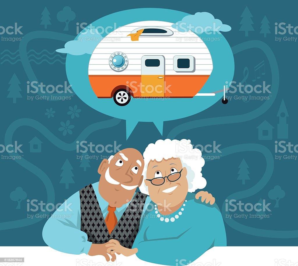 Retirement dreams vector art illustration