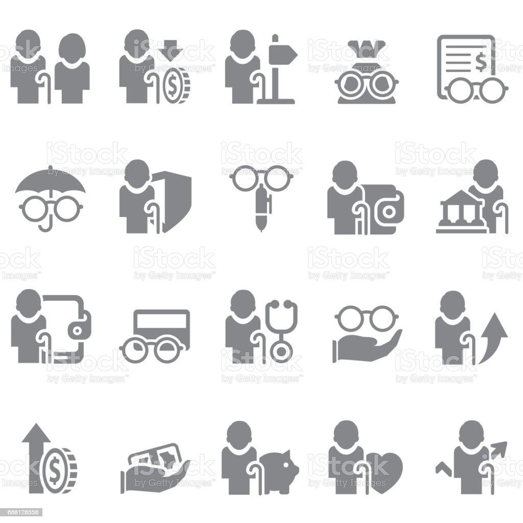 Retirement icon set vector art illustration