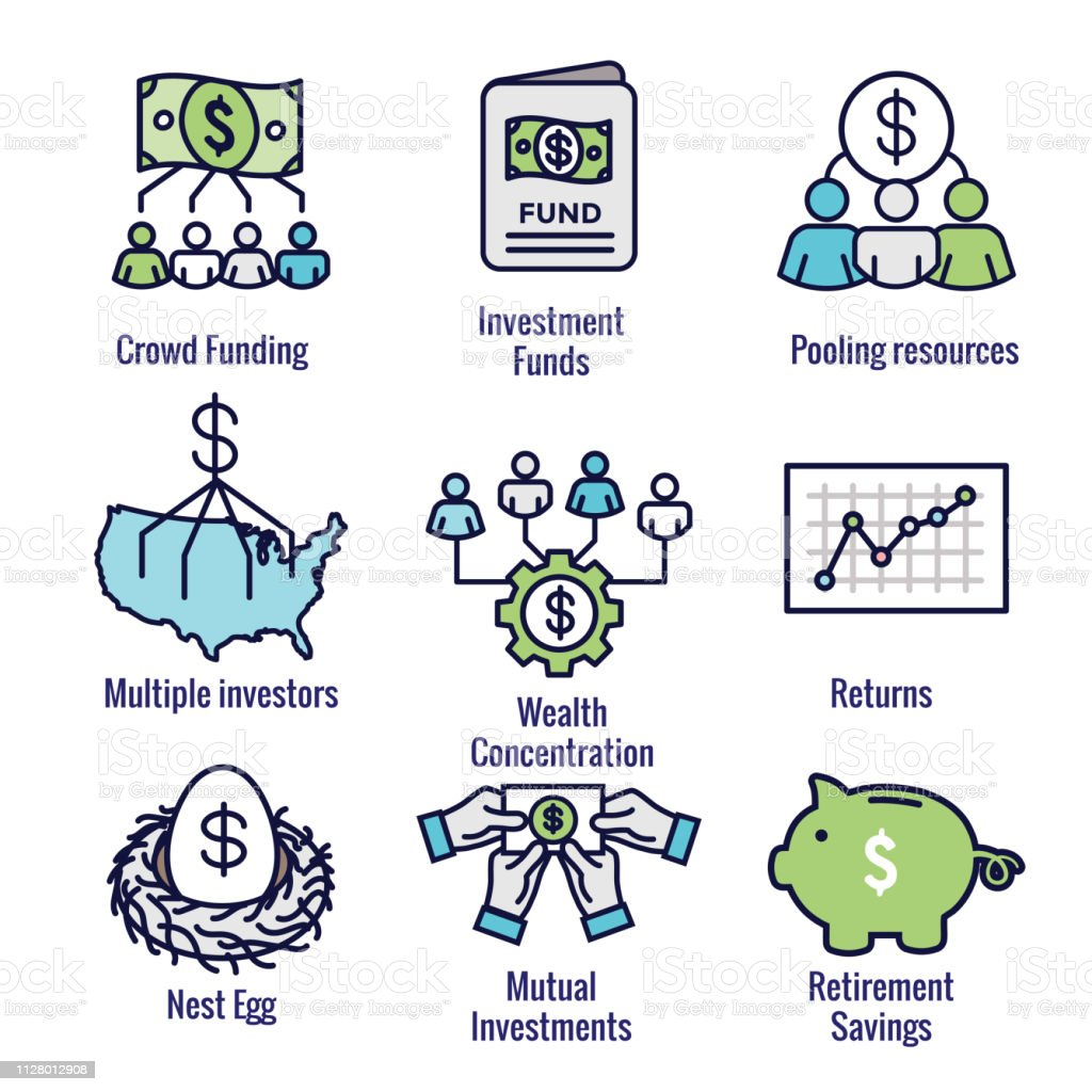 Retirement Investments and Dividend Income, Mutual Fund, IRA Icon set vector art illustration