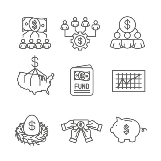 Retirement Investments and Dividend Income, Mutual Fund, IRA Icon set Retirement Investments / Dividend Income, Mutual Fund, IRA Icon set nest egg stock illustrations