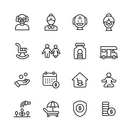 Retirement Line Icons. Editable Stroke. Pixel Perfect. For Mobile and Web. Contains such icons as Senior, Couple, Rocking Chair, Savings, Investment, Holiday, Retirement Home,  Gardening, Insurance, Budget, Piggy Bank, Finance, Nest Egg.