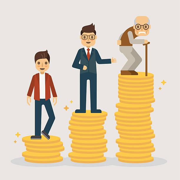 retirement money plan. financial concept illustration. - old man sitting backgrounds stock illustrations, clip art, cartoons, & icons