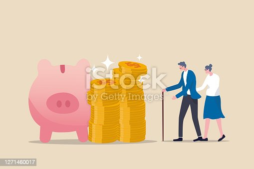 istock Retirement mutual fund, 401k or Roth IRA savings for happy life after retire and financial freedom concept, rich senior couple elderly man and woman stand with stacked of dollar coins pink piggy bank. 1271460017