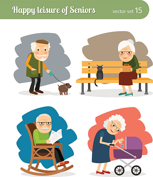 retirement old people - old man in rocking chair cartoons stock illustrations, clip art, cartoons, & icons