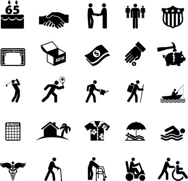 Ruhestand Optionen in Amerika schwarz und weiß, Vektor icon-set – Vektorgrafik